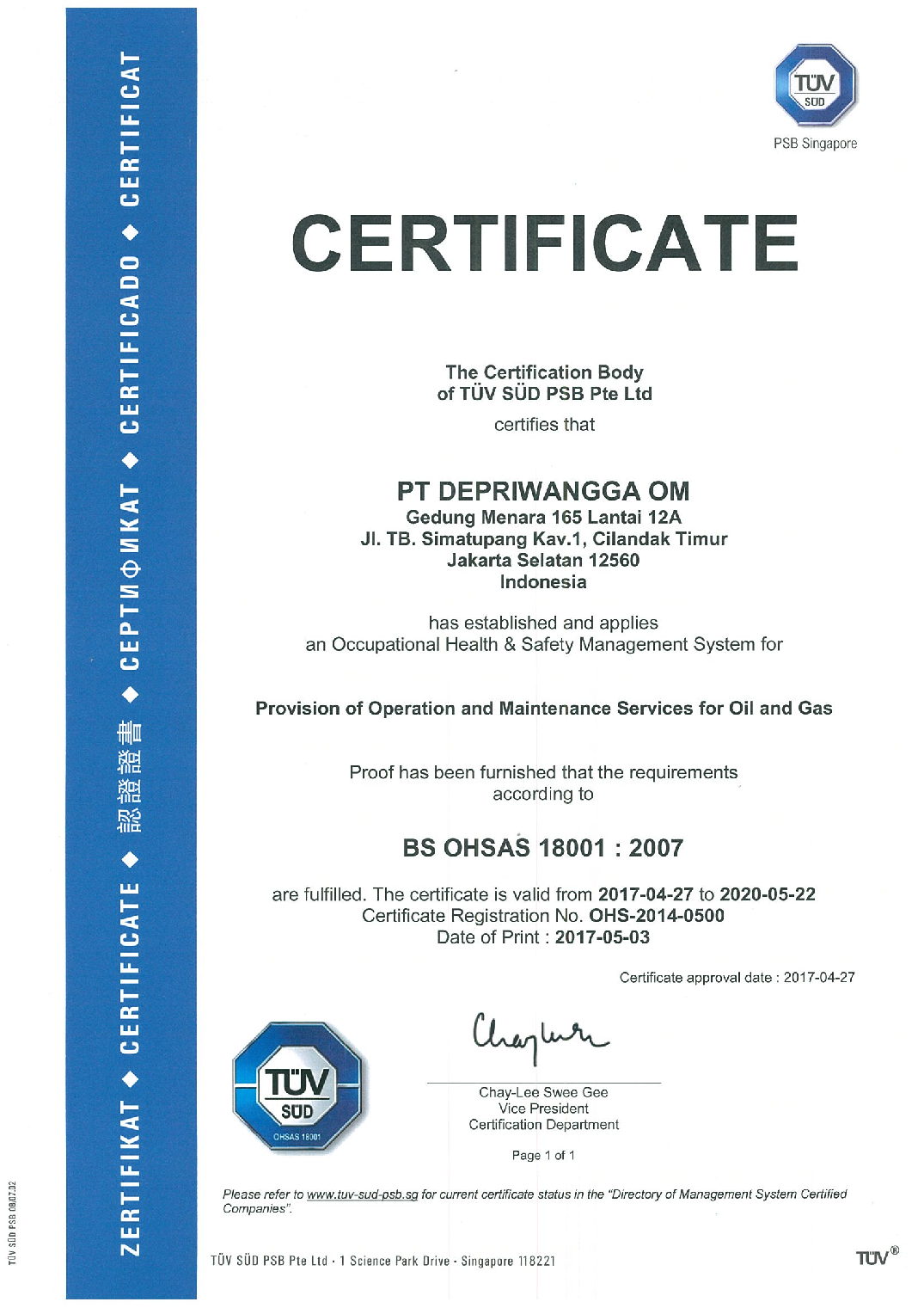 certification for provision